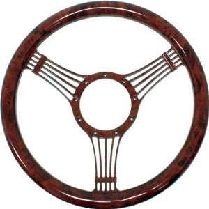 14 Billet Aluminum Steering Wheel w/ Wood Grain Design