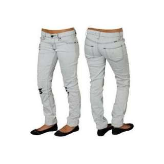 NEW Womens Juniors ROXY West Coast Super Skinny White Gray Denim Jeans