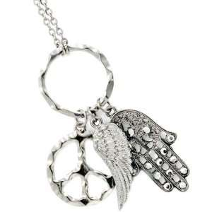 JUDAICA JEWELRY   Necklace with Hamsa, Peace and Angels Wing Charms