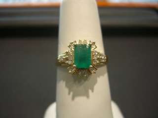 WOMENS 14 KARAT YELLOW GOLD DIAMOND AND EMERALD RING NEW 1.00 CARAT