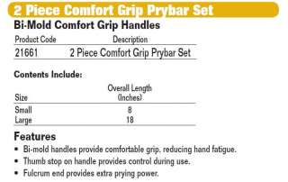 New JH Williams Tools 2pc Comfort Grip Prybar Set 21661 662459216618