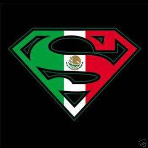 SUPERMAN MEXICAN FLAG SHIELD T SHIRT SPANISH MEXICO
