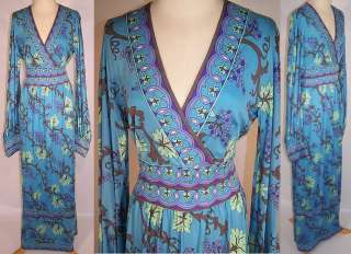 Emilio Pucci Pure Silk Blue Grape Vine Leaf Long Boho Mod Dress