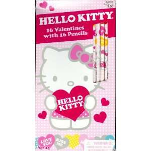Hello Kitty Valentine Cards for Kids with Pencils