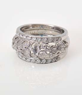 Carrera y Carrera 18K White Gold Diamond Gingko Ring