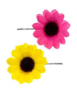 Soft Yellow (Yellow) Teens 2pk Neon Sunflower Hair Slides  253278288