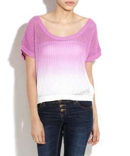 Purple Pattern (Purple) Purple and White Dip Dye Top  242862259  New