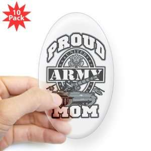 Sticker Clear (Oval) (10 Pack) Proud Army Mom Tank