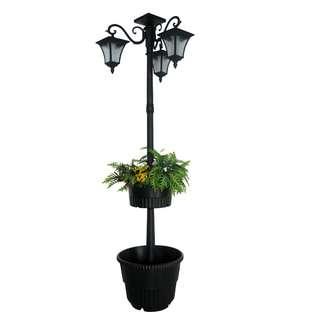 surplus madison double planter solar lamp post and planter black. Black Bedroom Furniture Sets. Home Design Ideas