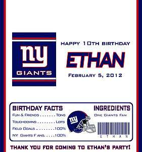 NY GIANTS / NFL FOOTBALL CANDY WRAPPERS / BIRTHDAY PARTY FAVORS