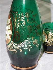 Bohemian or Italian Enamel Green Glass Gold Liquor Set