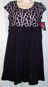 NWT Disorderly Kids Girls Plus Black Lace Dress 12 & 14