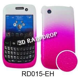 CURVE 8520 3D RAIN DROP HOT PINK WHITE Cell Phones & Accessories