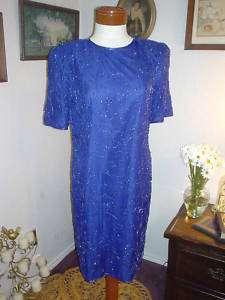 Purple SILK Sequin Bead Costume Cocktail Party Dress M