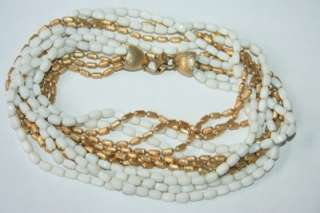 Napier 7 Strands Milk Glass And Gold Tone Metal Beads Necklace