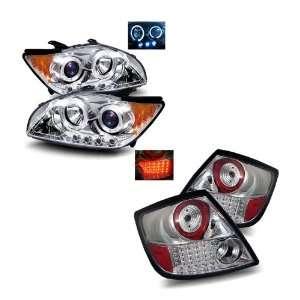 Scion tC Chrome LED Halo Projector Headlights + LED Tail Lights Combo