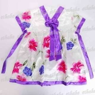 Girls Flower Korean Hanbok Mini Dress Skirt Purple 6C64