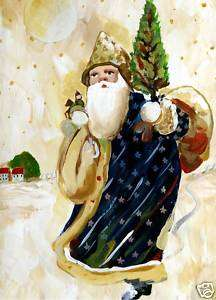 Primitive Santa Claus Snow Christmas Painting