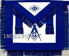 HAND EMBROIDERED MASONIC MASTER MASON APRON WITH FRINGE (MA 399 V)