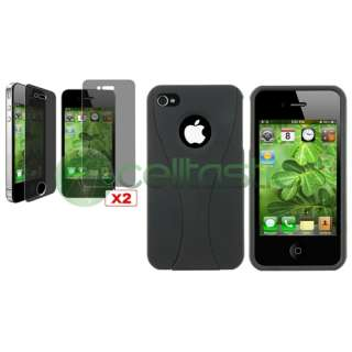 Black Cup Shape Cover Hard Case+2x Privacy LCD For iPhone 4 s 4s 4G