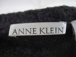 ANNE KLEIN Charcoal Gray Wool Sweater Vest Shell Sz M