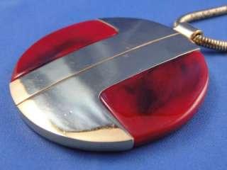 Vintage ~LANVIN PARIS~ Gold Tone Red LUCITE Circle Pendant Necklace