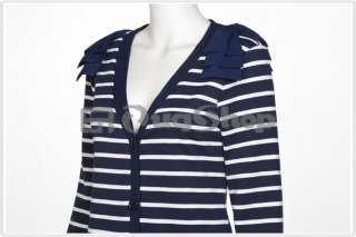 Celebrity Knitted Blue White Stripes V Neck Cardigan Sweater