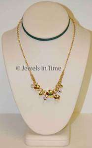 Ladies Dangle Charm Necklace 18K Yellow Gold 16.5