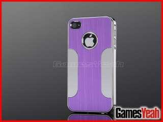 Purple Deluxe Aluminum Chrome Hard Case Cover F iPhone AT&T Verizon