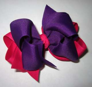 Pink Purple Boutique Hair Bow Girls Big Double Hairbow
