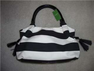 Auth KATE SPADE STEVIE Jubilee Stripe shoulder bag Purse Black Cream