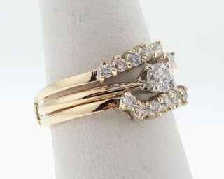 Genuine Diamonds 0.44ctw Solid 14k Yellow Gold Wedding Ring Set Size 7