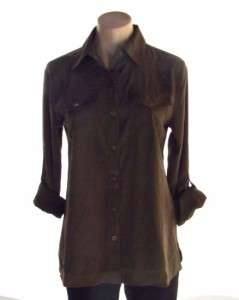 Charter Club Top Womens Brown Button down Shirt New Nwt Size S
