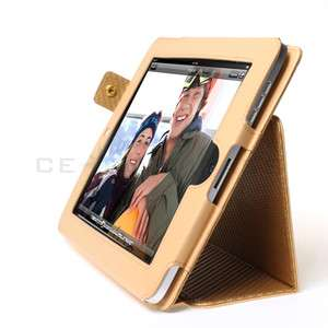 Apple iPad 1 Magnetic Yellow Leather Case Cover W/Stand