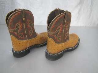 JUSTIN GYPSY L9900 WOMENS WESTERN BOOTS 9 B AGED BARK/COGNAC OSTRICH