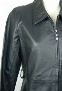 NWT! U.S.A. LEATHER Womens Ladies Black LEATHER Coat Jacket size S