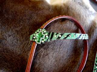 LEATHER HEADSTALL BREASTCOLLAR LIME GREEN ZEBRA CROSS TACK SET H7