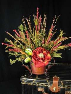 Tuscan Silk Red Peony Flower In Oval Compote Floral Arrangement