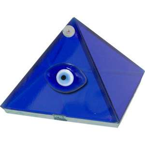 Small Evil Eye Cobalt Blue Glass Pyramid Trinket Box Wicca Pagan