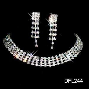 Wedding Bridal crystal necklace earring set TL0244