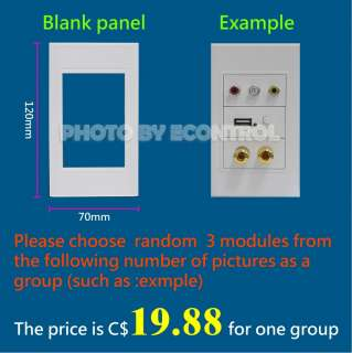 EC 】 HDMI RCA USB RJ45 speaker VGA Module Wall Panel Plate(40