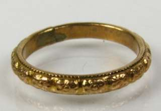 Antique Victorian Etched 10k Yellow Gold Eternity Band Childs Ring