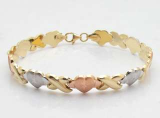 Diamond Cut Heart Bracelet 10K Yellow White Rose Gold