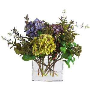 Nearly Natural 12 In. Mixed Hydrangea Silk Flower Arrangement with