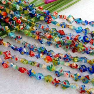 Mixed Color 6mm Millefiori Glass Rhombus Loose Beads FS