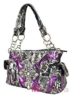 Crystal Gothic CROSS Pocket Tote Bag Handbag Purse SET Purple