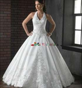 /Ivory Applique Halter Wedding Dresses/Gowns Size6 8 10 12 14 16 18