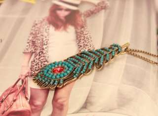 Blue Peacock Feather Retro Bronze Bohemia Long Necklace