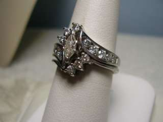 Nice 14K White Gold Marquise Diamond Engagement Ring with Fitted
