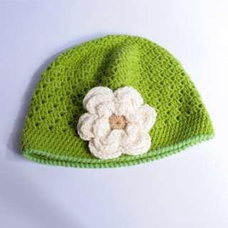 Toddler Baby Girls Cute Flower Motif Crochet Woolly Hand Knitted Cap